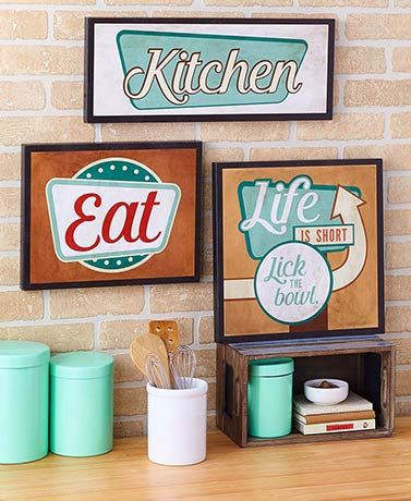 Retro Kitchen Wall Signs Wall Shelf Decor Wall Signs Kitchen Wall