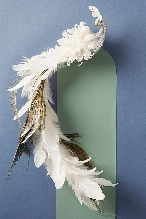 White Iridescent Long Tail Fluffy Feather Bird Decoration Clip on Christmas Tree