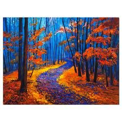 Orange Green Fall Leaves In Forest 3 Piece Graphic Art On Wrapped Canvas Set Forest Painting Canvas Painting Landscape Canvas Painting