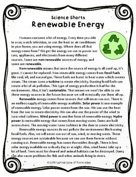 Renewable Energy Reading Comprehension Passage | TPT Products