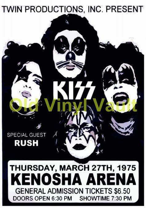 "KISS Concert Poster Ice Arena ,Kenosha,WI,USA 1975 A3 Reproduction ""NEW"""