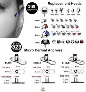 Micro Dermal anchor and accessores,body piercing $0.2~$0.3
