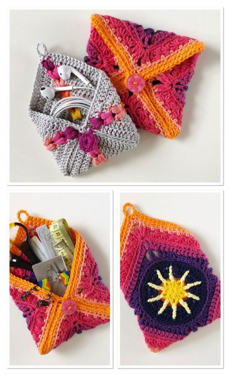 Perfect for earbuds, crochet notions, bits and bobs in your bag or anything else you can think of. Make your own pouch out of any crochet square you like. Tutorial includes links to the patterns for the squares you see here and lots of photos to help you make your own pouch too! by corrine