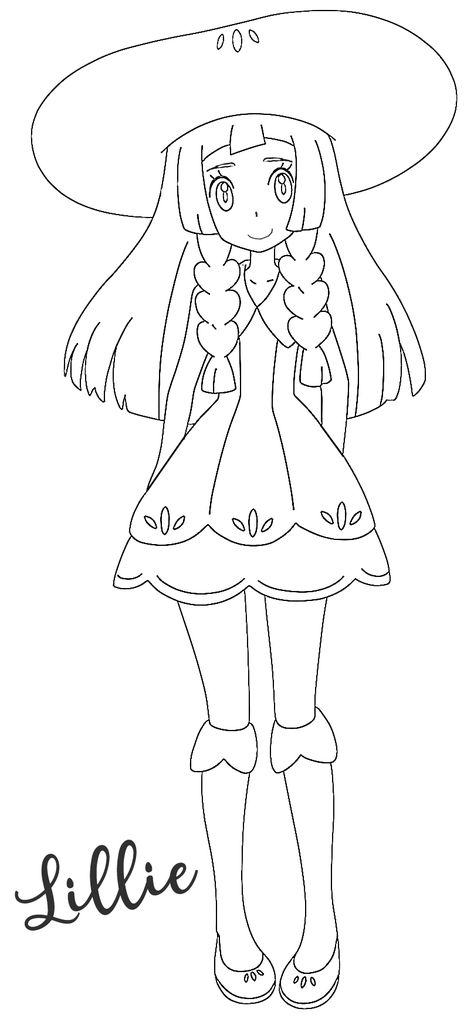 Lillie Coloring Page Pokemon Sun Moon Alola With Hat Lily Lilly