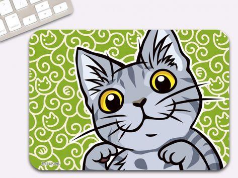 サバトラ猫 マウスパッド ドヤ顔イラスト 猫 おもちゃ 折り紙 猫