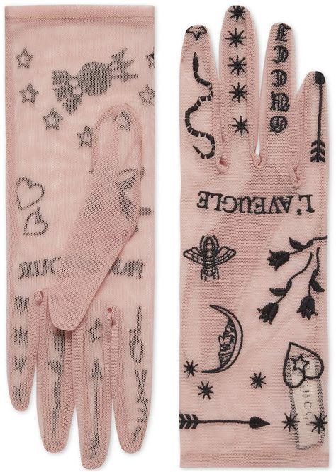 """GUCCI Tulle gloves with symbols embroidery. Sheer tulle gloves are embellished with contrast embroideries that represent symbols of the House, including the bee, Kingsnake, hearts, stars and the phrase """"L'Aveugle Par Amour. Fashion Details, Look Fashion, Fashion Design, Fashion Tips, Classy Fashion, Modest Fashion, Textiles, Wedding Gloves, Tokyo Fashion"""