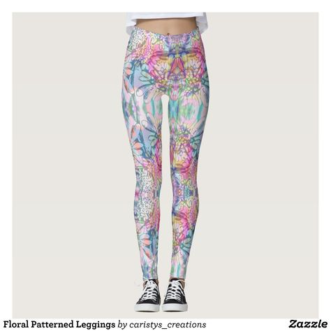 6cbf9a41ca05a Floral Patterned Leggings : Beautiful #Yoga Pants - #Exercise Leggings and  #Running Tights - Health and Training Inspiration - Clothing for  #Fitspiration ...