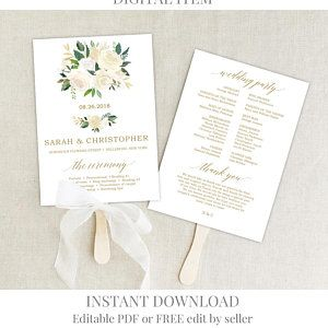 Greenery And Gold Wedding Program Template Printable Fan Wedding Program Ceremony Flo Wedding Program Fans Free Wedding Printables Printable Wedding Programs