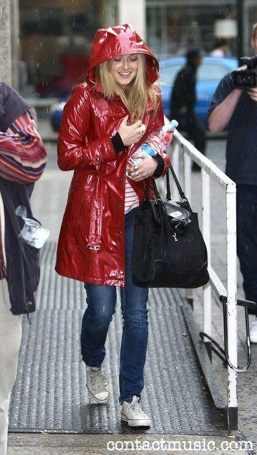 Fearne Cotton in vinyl rain coat