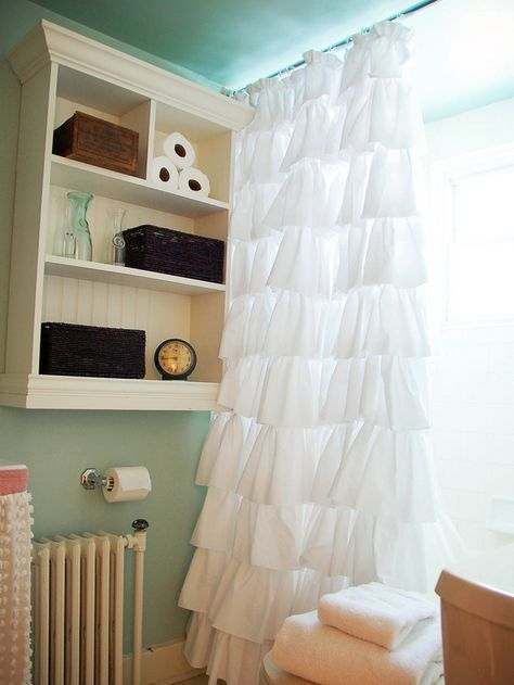 DIY Ruffled Shower Curtain. So simple! See how from HGTV.com.