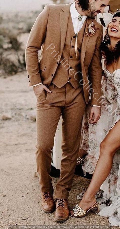 Mens Brown Three Peace Suit Summer Beach Wedding Prom Tuxedo | Etsy Brown Suit Wedding, Mens Wedding Tux, Fall Wedding Suits, Men's Tuxedo Wedding, Prom Tuxedo, Men Wedding Outfits, Mens Wedding Style, Mens Wedding Attire Summer, Beach Wedding Men Outfit