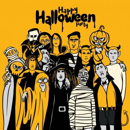 Flug Halloween 2020 Halloween party with people in different monster costume , vecto