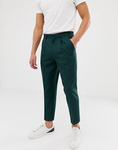 Pantalones elegantes tapered capri en verde con diseño plisado de ASOS DESIGN | ASOS
