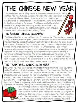 Chinese New Year History And Overview Reading Comprehension Worksheet La Clase