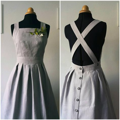 Informations About Light Grey linen apron dress, pinafore dress, vintage style dress, knee length, m Vintage Style Dresses, Vintage Outfits, Dress Vintage, Vintage Inspired Dresses, Vintage Apron, Vintage Hats, Inspired Outfits, Retro Dress, Sewing Clothes