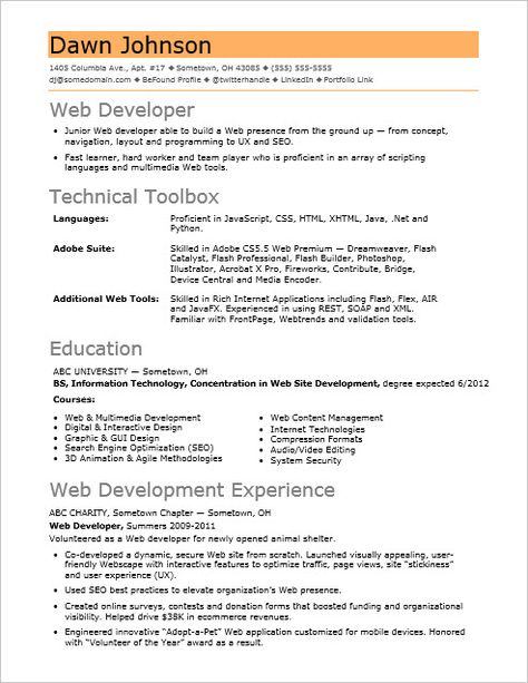 If Your Web Sites Sizzle But Your Resume Fizzles Check Out This Resume Sample For An Entry Level Web Developer Web Developer Resume Job Resume Examples Web Development