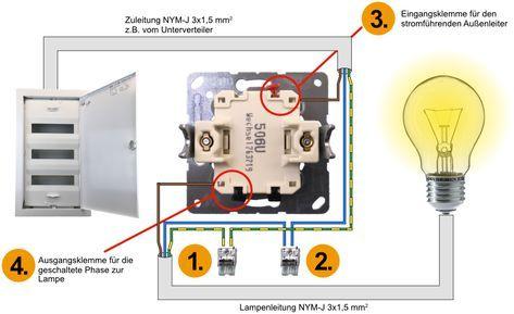 Elektroinstallation Wechselschalter Lichtschalter Ausschalter Richtig Anschliessen Auss Elektroinstallation Elektroinstallation Selber Machen Lichtschalter