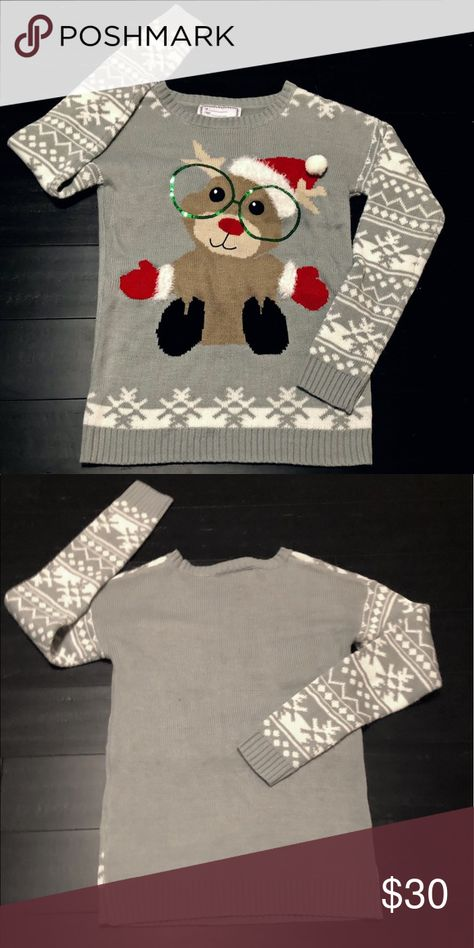 Christmas Sweater Cute little reign-deer with Sequin glasses. Multi color with gray base.. in great condition. Has from and too tag for you to fill out. See pick none Sweaters