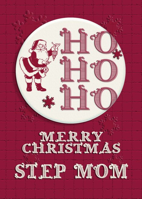 Merry Christmas Step Mom Santa Ho Ho Ho Retro Look Card Merry