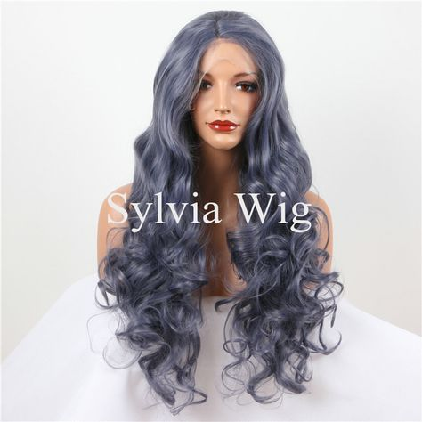 Sylvia Hair Dark Brown Color Natural Wave Wig For Women Long 2# Glueless Kanekalon Synthetic Lace Front Wig Fiber Half Hand Tied Synthetic None-lacewigs Hair Extensions & Wigs