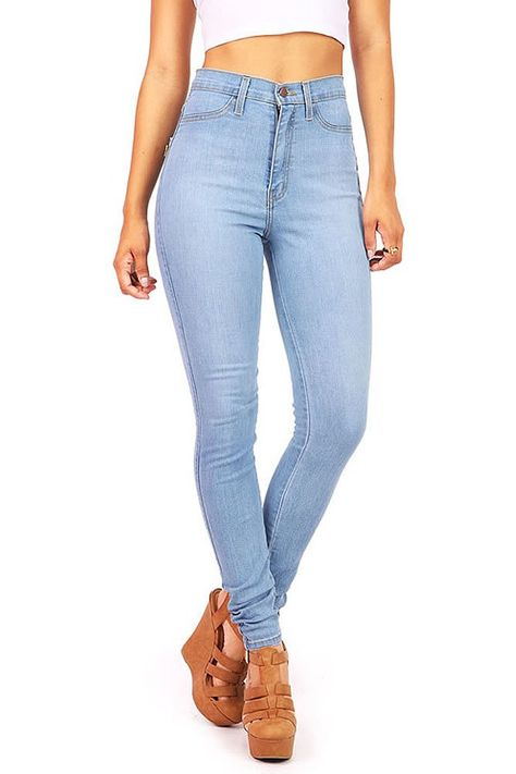 0905d3f39a8b Vibrant Women's Juniors Classic High Waist Skinny Jeans, 5, Light Denim