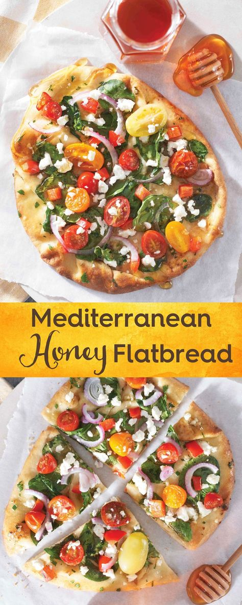Try this delicious Mediterranean Honey Flatbread includes many ingredients that hardworking honey bees help pollinate including garlic, parsley, tomatoes, bell peppers and onion. More than just sweet, honey benefits savory dishes by enhancing and balancing the flavor notes of other ingredients. #ad