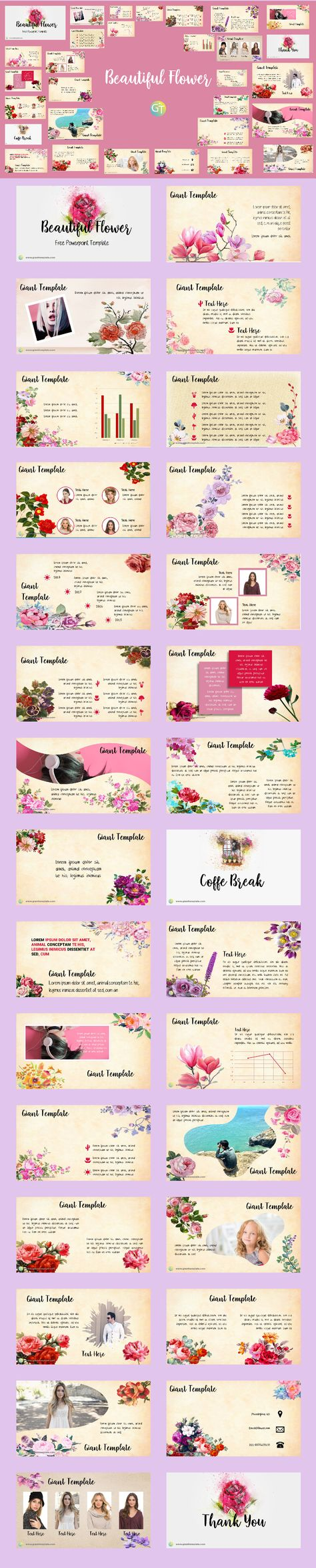 Beautiful flower free powerpoint template