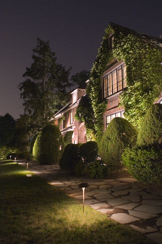 This brick home covered in ivy is radiant at night with expertly installed landscape lighting with quality led lights and cast lighting fixtures