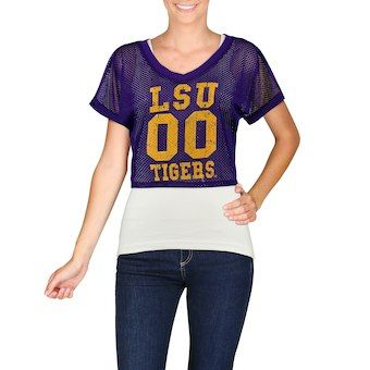 size 40 c0e6e d4b9a LSU Tigers chicka-d Women's Mesh Field Jersey Crop Top ...