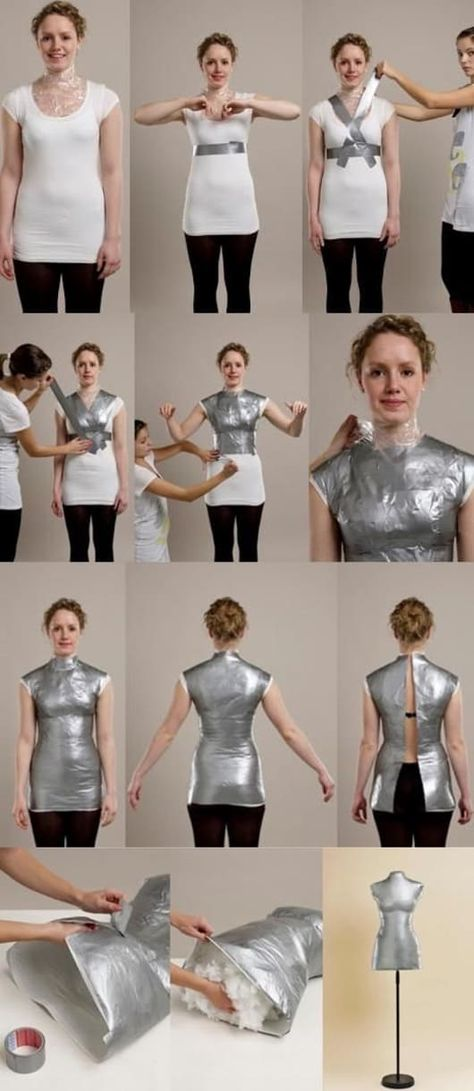 You will love this Duct Tape Mannequin Tutorial that shows you how to make the perfect custom shape for your size. This is perfect for creating patterns. brilliant, finally a chance to make use of all that tyedye duck tape diy dress body form Duct Tape Ma Sewing Hacks, Sewing Tutorials, Sewing Crafts, Sewing Projects, Sewing Patterns, Sewing Tips, Diy Crafts, Diy Clothes Patterns, Diy Clothes Design