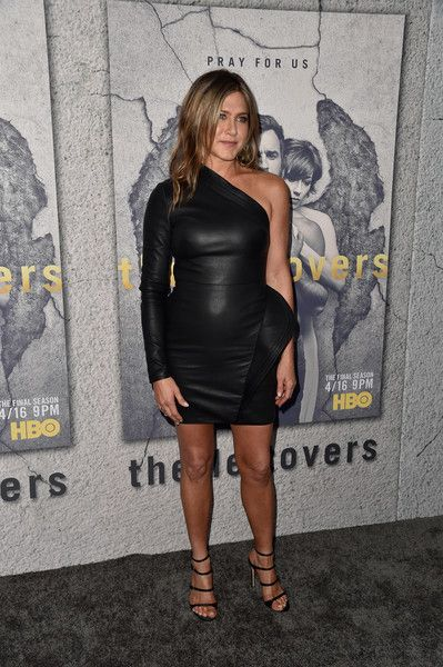 In A Leather Brandon Maxwell LBD At 'The Leftovers' Season 3 Premiere - Jennifer Aniston's Most Daring Red Carpet Moments - Photos