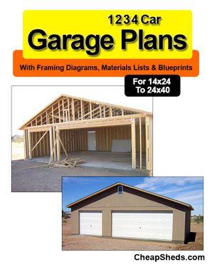 1 2 3 4 Car Garage Blueprints Shed Plans Garage Plans Gambrel Barn
