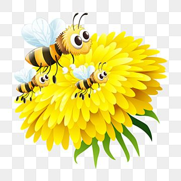 Yellow Beautiful Flower Bees Flower Illustration Bee On Flower Flower Clipart