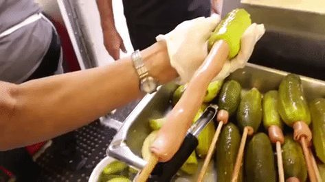 A Pickle Corn Dog Is Exactly What It Sounds Like Hot And Popular Gifs Top Meme Corn Dogs Pickled Corn Pickles