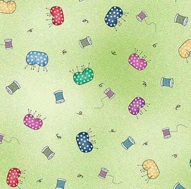 Fabric Follies BTY Leslie Moak Murray Quilting Treasures Pin Cushion Green