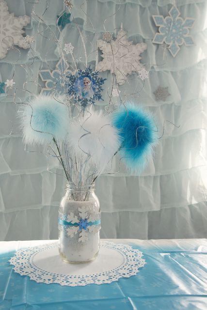 Frozen (Disney) Birthday Party Ideas | Mason jar centerpieces, Jar ...