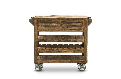 Küchenwagen Wild - recycletes Altholz - hellbraun - naturbelassen - küchenwagen aus holz
