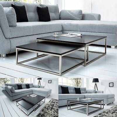 Cagu Design 2er Set Couchtische Mailand Schwarz Edelstahl Geburstet 75 65cm Ebay Couchtische Wohnzimmertische Tisch