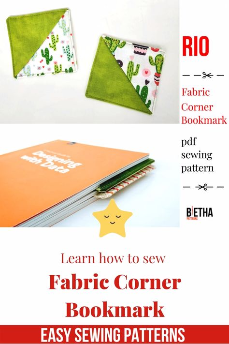 This Easy Beginner Level PDF Sewing Pattern will teach you how to make your own Fabric Corner Origami Bookmark. It is a great pattern to make good use of fabric scraps, quilting cotton and perfect if you aim for a zero waste lifestyle.    Sewing Techniques  It is a fact that knowing how to sew saves lives in many cases. Besides, with different sewing techniques, the fabrics can be stitched together in a very smooth and convenient way. Sewing is done in two d... #Bookmark #Corner #Learn #Sew