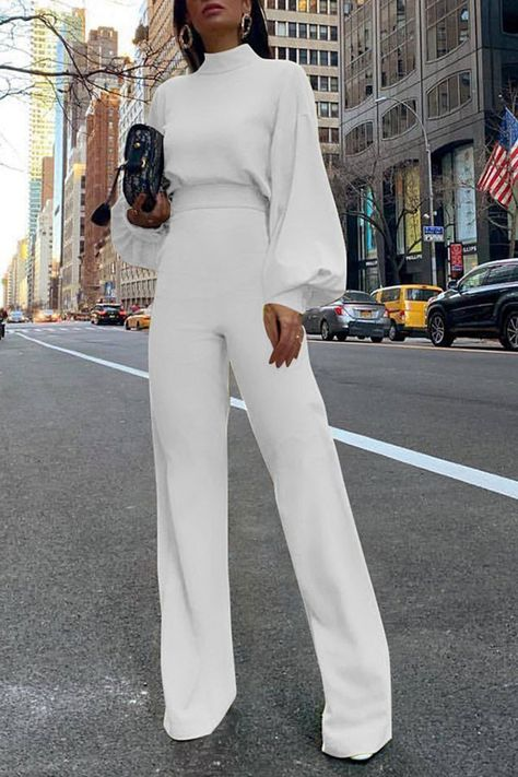 High Neck Cutout Back #Jumpsuit.  Waist High  Length Type Ankle-length  Season Spring, Summer, Fall, Winter  Sleeve Long Sleeves  Sleeve Length -  Material Polyester, Spandex  Neckline High Neck  Style #Fashion, #Streetwear
