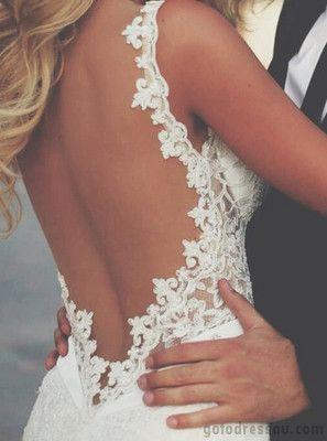 Lacy back wedding dress