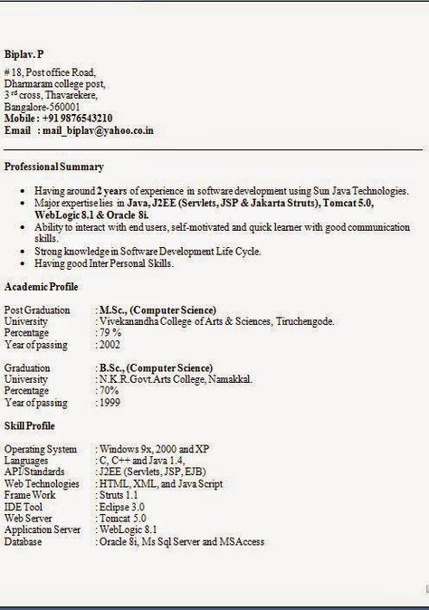 model curriculum vitae completat Sample Template Example of - example professional summary