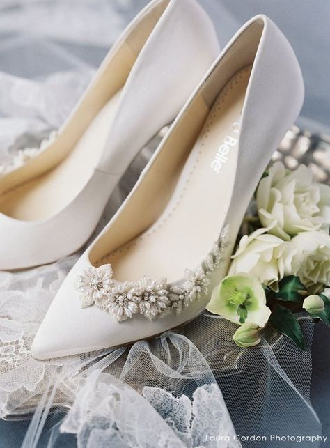 Image result for 3D Floral Luminous Pearls and Ivory Beads Wedding Pumps