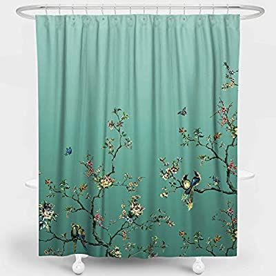 Amazon Com Livetty Artistic Shower Curtains Bathroom Gradient Teal Wildlife Floral Flower In 2020 Shower Curtain Hooks Bathroom Shower Curtains Cotton Shower Curtain