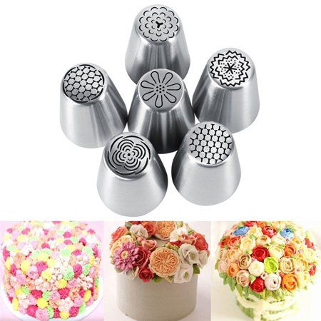 Walfront Russian Piping Tips Set 6pcs Set Cake Decorating Supplies Tips Kits Stainless Steel Baking Supplies Icing Tips For Cupcake Cookies Cake Walmart Com Piping Icing Icing Piping Nozzles Piping Tips