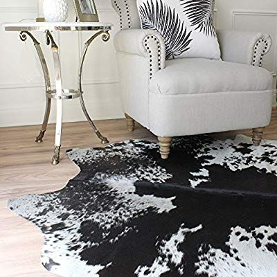 Amazon Com A Star Tm Large Black And White Cowhide Rug Cow Hide Skin Rugs 5 X 4 Kitchen Dining White Cowhide Rug Cow Hide Rug Cow Skin Rug