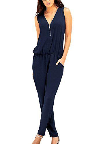 100% authentic 91c1e fbe7a Cassiecy Jumpsuits Damen Kurz Sommer V-Ausschnitt Playsuit ...