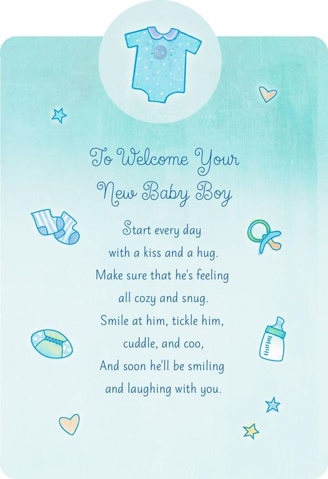 Welcome With a Kiss and Hug New Baby Boy Card - Greeting Cards - Hallmark