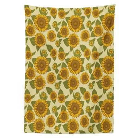 Sunflower Outdoor Tablecloth Funky Style Sunflower In Pastel Colors Old Fashioned Nostalgic Vintage Print Decorative Washable Fabric Picnic Table Cloth 58 X Outdoor Tablecloth Vintage Prints Pastel Colors