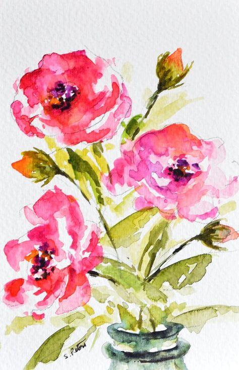 Fiori Watercolor.Original Watercolor Painting Handpainted Postcard Pink Roses